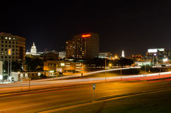 Austin Texas at night. I35 Traffic lights in Austin, Texas Stock Images