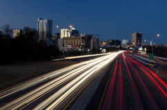 Austin Texas by night. Night time picture of downtown Austin and I35 highway, Texas Royalty Free Stock Image