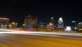Austin Texas at night. Traffic lights in Austin, Texas Stock Images