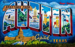 AUSTIN, TEXAS - NOVEMBER 5, 2017 - Greetings from Austin mural on the wall of Roadhouse Relics on South First Street. The mural wa royalty free stock photos
