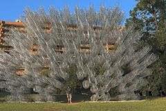 `Forever Bicycles`, work of Ai Weiwei in Austin stock photo