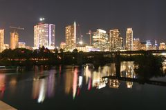 Austin Texas Skyline alla notte fotografie stock