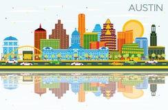 Austin Texas Skyline avec les bâtiments de couleur, le ciel bleu et le Reflecti illustration libre de droits