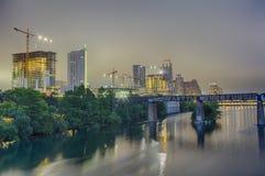 Austin Texas Skyline bij Nacht Stock Foto's