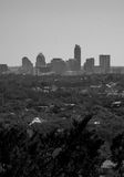 Austin Texas Skyline black and white Verical Mount Bonnell View Royalty Free Stock Photo