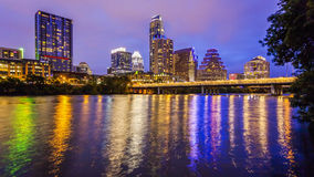 Austin, Texas Skyline and City Lights at Night Stock Photos