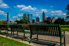 Austin texas skyline cityscape green field park Royalty Free Stock Photography