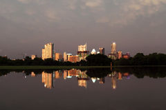 Austin Texas Skyline reflected in flooded Park stock images