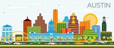 Austin Texas Skyline met Kleurengebouwen en Blauwe Hemel royalty-vrije illustratie