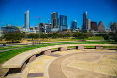 Austin Texas Skyline View from Hilltop Texas Map. On a nice blue sky day in the park royalty free stock photo