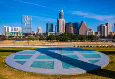 Austin Texas Skyline View vom Kreis Parmer Event Center Stockbilder