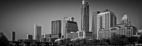 Austin Texas Towers monochrome Manhattan skyline Gotham Stock Image