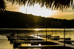 Austin Texas Town Lake Paradise on the Pier close the water at Sunset Royalty Free Stock Images