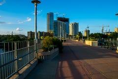Austin Texas Under Construction Towers en Kranen Stock Afbeelding