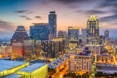 Austin, Texas, USA. Downtown cityscape at dusk royalty free stock images
