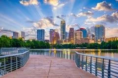 Austin, Texas, USA. Downtown skyline over the Colorado River stock photo