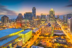 Austin, Texas, USA downtown cityscape. At dusk from above royalty free stock images