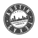 Austin Texas USA Round Button City Skyline Design Stamp Vector Travel Tourism. Skyline with emblematic Buildings and Monuments of this famous city stock illustration