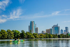 Austin Texas. The view of downtown Austin, Texas from the waters of Lady Bird Lake on a beautiful sunny day Stock Photography