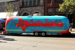 Austin Trailer. A bright colored trailer in Austin, Texas for the Formula One festivity's Royalty Free Stock Images