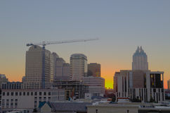 Austin TX during sunrise. Early morning time picture of downtown Austin, Texas Stock Photo
