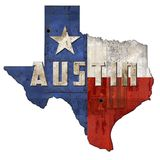 Austin TX Texas Flag Sign Grunge Metal. Music Festival SXSW south by southwest city vintage rustic stock photo
