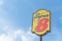 Exterior of Super 8 hotel in Austin, Texas, USA royalty free stock image