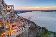 Austin, TX/USA - circa February 2016: Sunset above Lake Travis from The Oasis restaurant in Austin,  Texas Royalty Free Stock Photos