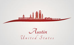 Austin V2 skyline in red Royalty Free Stock Images