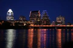 Austin van de binnenstad, Texas bij Nacht Royalty-vrije Stock Afbeeldingen