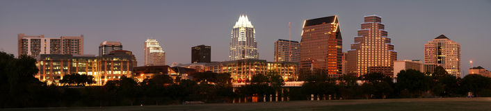 Austin van de binnenstad, Texas bij Nacht Royalty-vrije Stock Fotografie