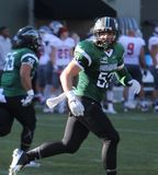 #53 Austin Wolff. Line backer for the Portland State Vikings at Providence Park in Portland Oregon USA September 26,15 stock image