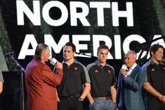 Auston Matthews och Connor McDavid av Team North America royaltyfria foton