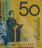 Austrália cédula de 50 dólares Imagens de Stock Royalty Free