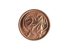 Austrália moeda de dois centavos com uma imagem de um lagarto Necked do folho fotografia de stock