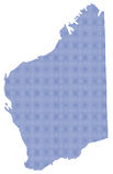 Austrália Ocidental Dot Map In Blue Imagem de Stock