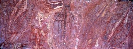 Austrália: os aborígene antigos apedrejam pinturas no interior fotos de stock