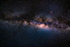 The austral Milky Way, with details of its colorful core, outstandingly bright. Captured from the Southern Hemisphere. The austral Milky Way, with details of royalty free stock photography