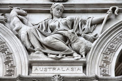 Australasia. London, United Kingdom - sculpture in facade of Foreign and Commonwealth Office. Allegory of Australasia stock photography