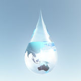 Australasia droplet. Australia and Asia water droplet royalty free illustration