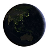 Australasia on Earth at night isolated on white Royalty Free Stock Photos