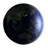 Australasia on Earth at night isolated on white Stock Images