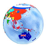 Australasia on political globe with flags isolated on white Royalty Free Stock Images