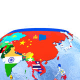 Australasia on political globe with flags Royalty Free Stock Photos