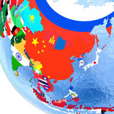 Australasia on political globe with flags Stock Image