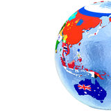 Australasia on political globe with flags Stock Photography