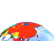 Australasia on political globe with flags Royalty Free Stock Image