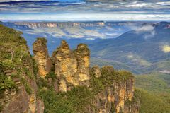 Australië - Blauwe Bergen - de vorming van de Drie Zustersrots Royalty-vrije Stock Afbeeldingen