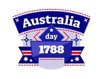 Australië dag 1788 illustreerde vectorembleemkenteken, vierend Nationale Dag van Australië, lint in de nationale kleuren van Aust Stock Afbeeldingen