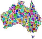 Australië in een kleurenmozaïek Stock Afbeelding
